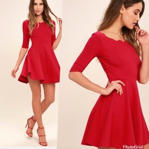 Lulus Scallop Skater Dress